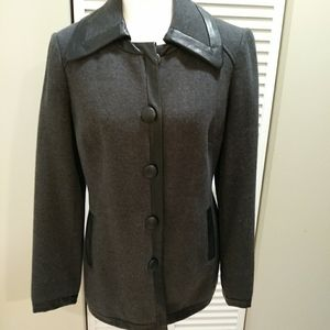 INC Leather-like Trim Jacket